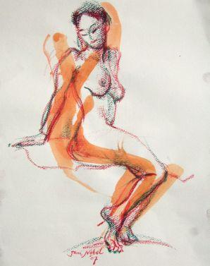 aquarel en krijt, 50x40 cm, euro 175,-