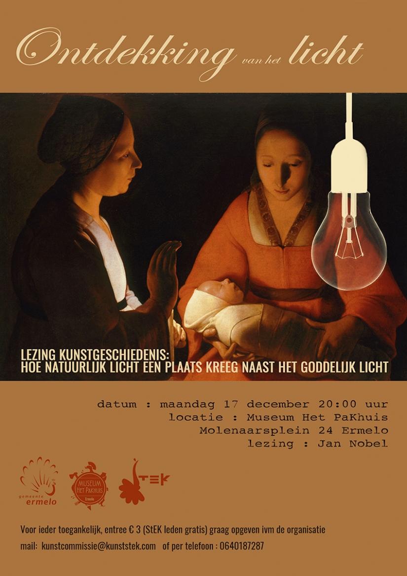 Lezing Jan Nobel De oorsprong van het licht, poster Henriëtte Houtsma-van Donkersgoed